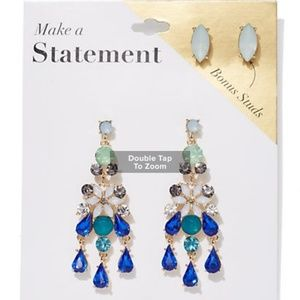 2 -Goldtone Post & Statement Drop Earring Set